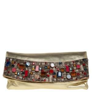 Giuseppe Zanotti Gold Leather Crystal Embellished Foldover Clutch