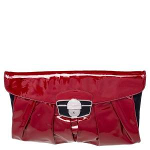 Giuseppe Zanotti Red/Black Satin And Pleated Patent Leather Flap Clutch
