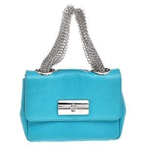 Giuseppe Zanotti Aqua Blue Embossed Leather Chain Top Handle Bag