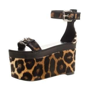 Giuseppe Zanotti Black Leather and Leopard Calf Hair Ankle Strap Platform Sandals Size 37