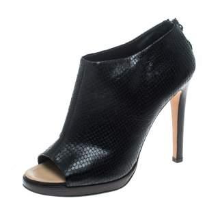Giuseppe Zanotti Black Snake Embossed Leather Peep Toe Ankle Booties Size 40.5