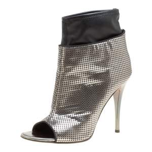 Giuseppe Zanotti Metallic Silver Perforated Leather Peep Toe Booties Size 39