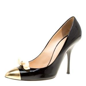 Giuseppe Zanotti Black Patent Leather Bow Embellished Cap Toe Pumps Size 40