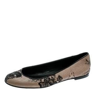 Giuseppe Zanotti Black Mesh and Crystal Embellished Ballet Flats Size 38