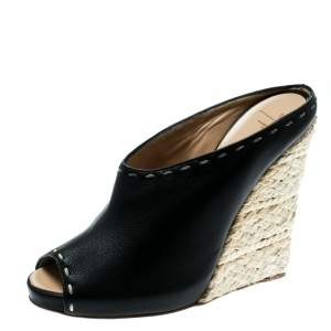 Giuseppe Zanotti Black Leather Espadrille Wedge Peep Toe Mules Size 38