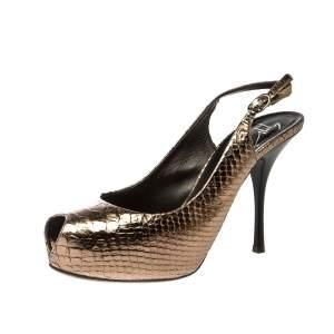 Giuseppe Zannotti Metallic Python Embossed Leather Peep Toe Platform Slingback Sandals Size 38