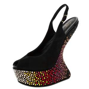 Giuseppe Zanotti Black Suede Embellished Sculpted Wedge Slingback Sandals Size 38