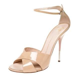 Giuseppe Zanotti Beige Patent Leather Cross Strap Open Toe Sandals Size 40