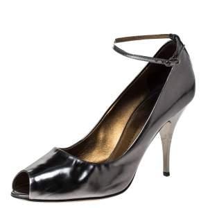 Giuseppe Zanotti Metallic Grey Leather Peep Top Ankle Strap Pumps Size 39