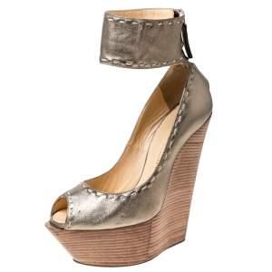 Giuseppe Zanotti Metallic Gold Leather Wedges Platform Ankle Cuff Sandals Size 37