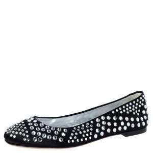 Giuseppe Zanotti Black Leather Crystal Studded Ballet Flats Size 38.5