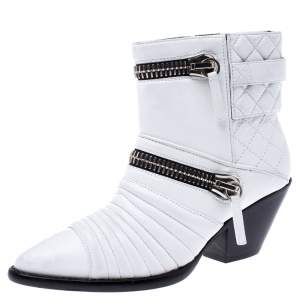 Giuseppe Zanotti White Quilted Leather Olinda Zipper Detail Ankle Boots Size 37.5