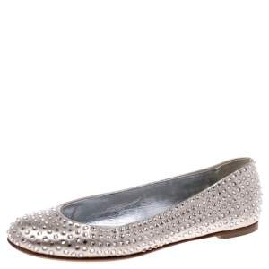 Giuseppe Zanotti Gold Leather Crystal Embellished Ballet Flats Size 36