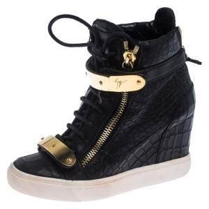 Giuseppe Zanotti Black Croc Embossed Leather Lorenz Wedge High Top Sneakers Size 36.5
