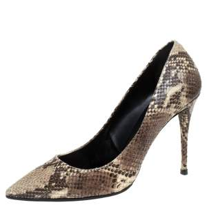 Giuseppe Zanotti Brown/Beige Python Embossed Leather Pointed Toe Pumps Size 39