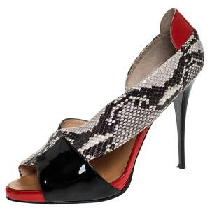 Giuseppe Zanotti Black/Red Cross Patent Leather and Python Embossed Leather Open Toe Sandals Size 41