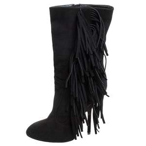 Giuseppe Zanotti Black Suede Fringe Detail Mid Calf Boots Size 38.5