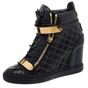 Giuseppe Zanotti Black Quilted Leather Lorenz Wedge Sneakers Size 40