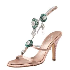 Giuseppe Zanotti Nude Pink Satin and Lizard Embossed Leather Crystal Embellished Ankle Strap Sandals Size 35.5