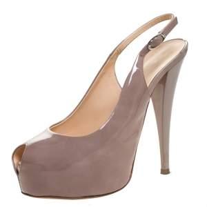 Giuseppe Zanotti Beige Patent Leather Peep Toe Slingback Platform Sandals Size 38.5