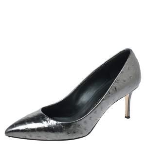 Giuseppe Zanotti Metallic Grey Ostrich Embossed Leather Lucrezia Pointed Toe Pumps Size 40