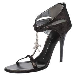 Giuseppe Zanotti Metallic Grey Leather Skull Embellished T Strap Sandals Size 40