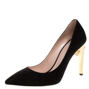 Giuseppe Zanotti Black Leather Bolt G Pointed Toe Pumps Size 38.5