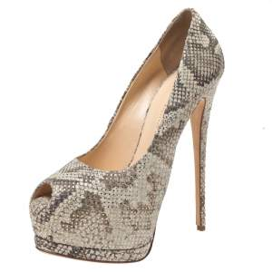 Giuseppe Zanotti Mint Green/Black Python Effect Leather Peep Toe Platform Pumps Size 39.5