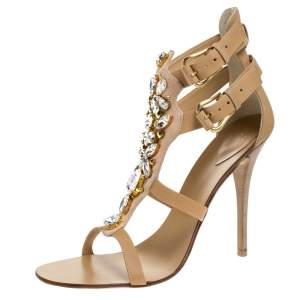 Giuseppe Zanotti Beige Suede and Leather Crystal Embellished Strappy Sandals Size 41