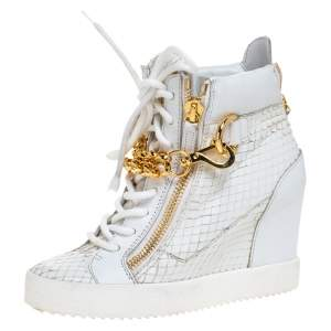 Giuseppe Zanotti White Snake Embossed Leather High Top Wedge Sneakers Size 36.5