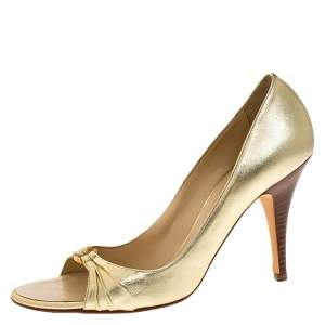 Giuseppe Zanotti Metallic Gold Leather Crystal Embellished Open Toe Pumps Size 40