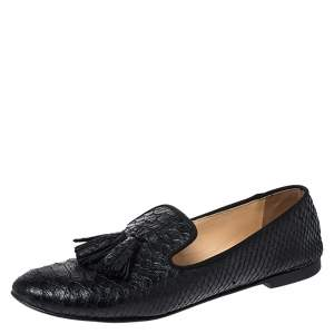Giuseppe Zanotti Black Python Leather Tassel Detail Smoking Slippers Size 37
