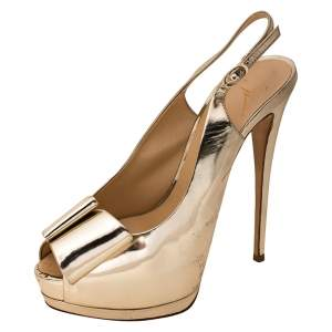 Giuseppe Zanotti Metallic Gold Leather Bow Embellished Platform Slingback Sandals Size 40