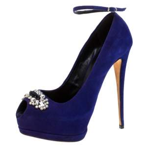 Giuseppe Zanotti Blue Suede Crystal Embellished Ankle Strap Peep Toe Platform Pumps Size 41