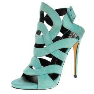 Giuseppe Zanotti Aqua Suede Cutout Caged Slingback Sandals Size 35