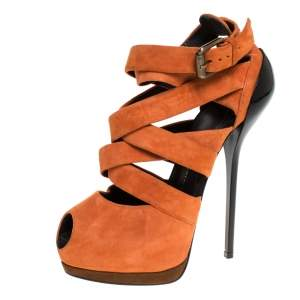 Giuseppe Zanotti Orange Suede Strappy Peep Toe Platform Sandals Size 38