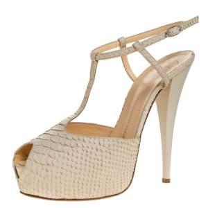 Giuseppe Zanotti Beige Python Embossed Leather T Strap Platform Sandals Size 41