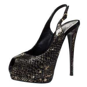 Giuseppe Zanotti Black/Gold Monochrome Python Embossed Leather Peep Toe Slingback Platform Pumps Size 38.5