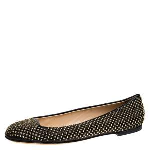 Giuseppe Zanotti Black Leather Studded Ballet Flats Size 38