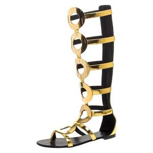 Giuseppe Zanotti Metallic Gold Leather Embellished Rylee Gladiator Flat Sandals Size 41