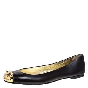 Giuseppe Zanotti Black Leather Malika Spiked Cap Toe Ballet Flats Size 38