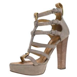 Giuseppe Zanotti Grey Suede And Tan Leather Strappy Platform Sandals Size 36