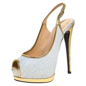 Giuseppe Zanotti White Croc Embossed Leather Peep Toe Slingback Platform Sandals Size 37