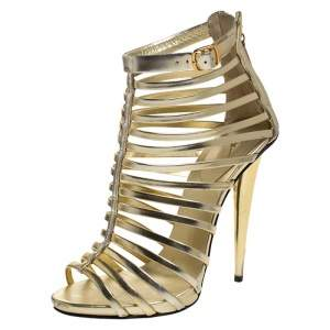 Giuseppe Zanotti Metallic Gold Leather Gladiator Sandals Size 38