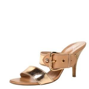 Giuseppe Zanotti Metallic Gold Leather Buckle Slides Size 38