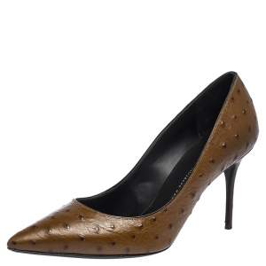 Giuseppe Zanotti Brown Ostrich Embossed Leather Lucrezia Pointed Toe Pumps Size 38.5