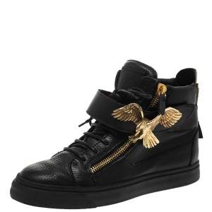 Giuseppe Zanotti Black Leather Eagle High Top Sneakers Size 40