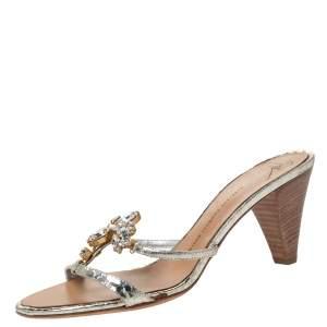 Giuseppe Zanotti Metallic Gold Leather Embellished Slide Sandals Size 40