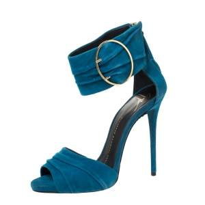 Giuseppe Zanotti Blue Ruched Suede Open Toe Ankle Cuff Sandals Size 36