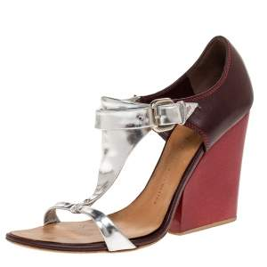 Giuseppe Zanotti Tricolor Leather Ankle Strap Block Heel Sandals Size 39.5